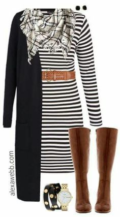 Plus Size Striped Dress Outfit I know It's such a classic look. It would even work with a striped dress. Just add a sweater. Side note: I love this handbag for this outfit. Mode Outfits, Casual Outfits, Dress Casual, Formal Dress, Casual Friday Work Outfits, Casual Wear, Cheap Outfits, Black Outfits, Girly Outfits