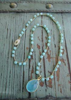 Seafoam aqua crochet necklace - Sea Dreamin' - gold vermeil blue topaz teardrop layering necklace beach boho chic by slashKnots Fall Jewelry, Boho Jewelry, Jewelry Crafts, Jewelry Art, Gemstone Jewelry, Jewelery, Jewelry Accessories, Handmade Jewelry, Jewelry Design