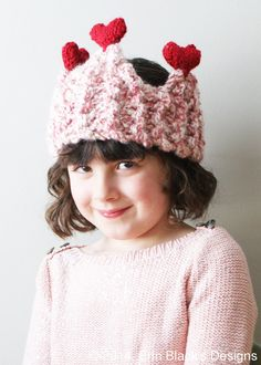 DIY Knitting PATTERN - Chunky Heart Crown Earwarmer in Toddler, Child and Adult Sizes (hat023)