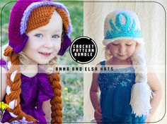 PDF Crochet Pattern Bundle for Anna and Elsa Hat - Frozen - Toddler to Teen/Adult - Permission To Sell Finished Items. Frozen Inspired