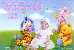 Fotomontagem com a foto da criança e a turminha do Baby Pooh