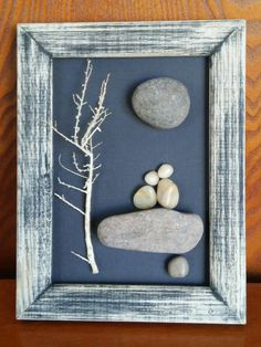 "Pebble Art (couple sitting on rock under a tree and moon) in reclaimed 6x9 ""open"" wood frame"