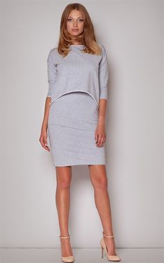 Ozsale - Cotton Two Piece Style Dress Grey