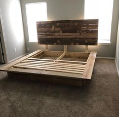 This platform bed frame easily dissasembles into the head board and the 3 other boards. They easily attach by brackets. Platform Bed Designs, Wood Platform Bed, Diy Platform Bed Frame, Diy Platform Bed Plans, Floating Platform Bed, Custom Bed Frame, Platform Bed With Storage, King Platform Bed, Room Ideas Bedroom
