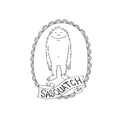 BigFoot Sasquatch Yeti Cryptozoology Cryptid Download Printable Embroidery Pattern Digital Downloadable Hand Embroidery