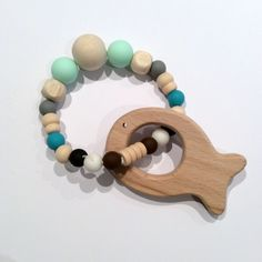 Fish Teething Toy Natural Maple Wood & Silicone Beads, Aqua, Blues by AeviternalCreations on Etsy