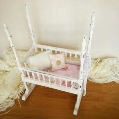 Dolls bed by Revamped by Samantha.  Handmade cushions and bedding and shabby chic style chalk emulsion paint.