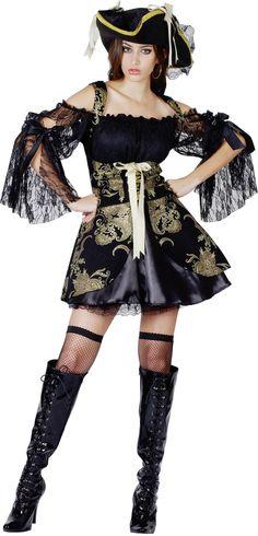 Un déguisement de pirate pour femmes des plus élégants, tout en noir et or !