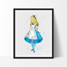 Alice in Wonderland Watercolor Print, Disney Princess Baby Girl Nursery Wall Art Decor, Wall Decor, Not Framed, No. Nursery Wall Art, Girl Nursery, Nursery Decor, Room Decor, Room Art, Nursery Room, Nursery Ideas, Baby Room, Disney Princess Babies