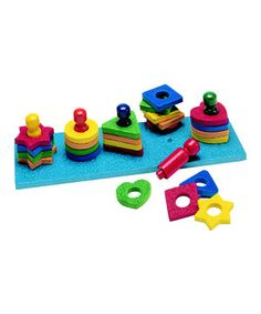 This colorful classic will delight any little sorter. It promotes finger dexterity, hand-eye coordination and sorting skills, making these shapes and colors the perfect combination of fun and educational!