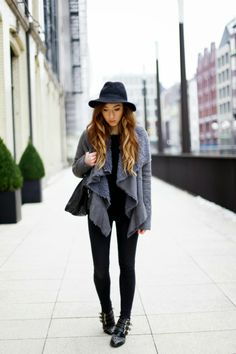 grey cardigan + studded boots