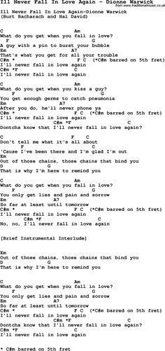 Song Ill Never Fall In Love Again By Dionne Warwick With Lyrics