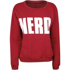 Wine sweat top with large white Nerd logo. Ribbed neck, cuffs and hem. Accessories stylists own. Size me up: Back neck to hem: 58 cm. Size range: UK S/M (8-10)…
