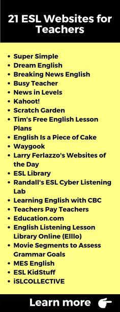 21 ESL Websites for Teachers