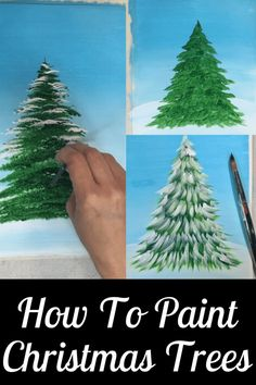 Painting Trees With A Fan Brush - Step By Step Acrylic Painting Christmas Paintings On Canvas, Christmas Tree Painting, Christmas Canvas, Christmas Drawing, Christmas Art, Watercolor Christmas, Xmas, Tree Paintings, Whimsical Christmas