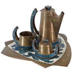 Salvador Teran hand wrought brass and tile mosaic coffee/tea set. c 1950's