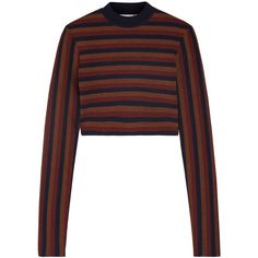 Victoria Beckham Cropped striped stretch wool-blend sweater (1.580 BRL) ❤ liked on Polyvore featuring tops, sweaters, victoria beckham, shirts, white crop shirt, cropped sweaters, white stretch shirt, white cropped sweater and stripe shirt