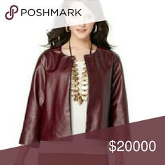 "💜Plus💜 ""Rae"" Vegan Leather Jacket Beautiful burgundy box jacket features 3/4 length sleeves, collarless neckline, open front, shortened length that hits just above the hips, full lining. This jacket would be perfect with jeans, leggings, skirts or just about anything! Very versatile, classic & stylish. Can be dress up or down.  Color: Burgundy    Material: Soft Vegan Leather  Size 2X (fits true to size) OFFERS WELCOMED Wild Plum  Jackets & Coats"