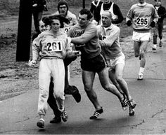 In 1967, Boston marathon organizer Jock Semple chased after Kathrine Switzer after he realized a woman was running. Other runners stopped him and she finished the race.