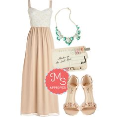 In this outfit: Almond I Ever Wanted Dress, Here We Glow Again Necklace, Through the Post Clutch, All Fleur You Heel in Seashell