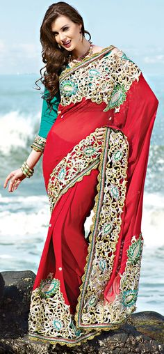Red Cut Work Enhanced Chiffon Saree !!  Item Code: SADP1226 !! PRICE:- 9607/- INR !!  Style: Designer Saree occasion: Party, Wedding, Festival, Reception fabric: Faux Chiffon color: Red Catalog No.: 1165 work: Embroidered, Resham  SHOP THIS SAREE FROM HERE http://www.vivaahsurat.com/sarees/red-cut-work-enhanced-chiffon-saree-sadp1226