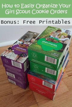 How to Organize Girl Scout cookies. The selling is done and now you have cases of cookies in your house. Whether you're a cookie mom organizing sales for your entire troop or a mom with  a Girl Scout who sold cookies, here are tips to get and stay organized and free printables to make it even easier.