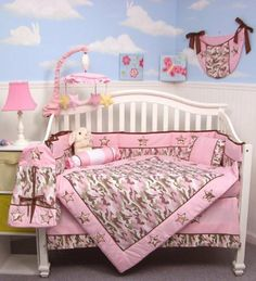 SOHO Pink Camo Baby Crib Nursery Bedding Set 13 pcs included Diaper Bag with Changing Pad & Bottle Case by SoHo Designs. $69.99. Your little one will enjoy this Modern Army Khaki and Pink Camo Baby Bedding. This Set is a unique 10 pc. Designer Pink Camo Crib Set by SoHo Designs, This  Pink fashion Camo Bedding comes home! This awesome bedding uses ivory, khaki, and pink army camo print, solid pink cotton, and appliqués and embroideries of stars to create a great look for you ...