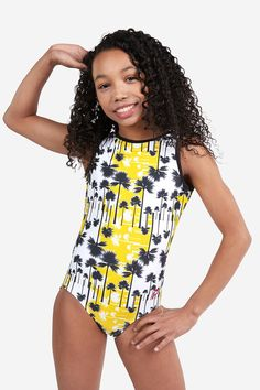 Let's get Coconutty! Vibrant yellow contrasting against black within this palm tree-inspired leotard is everything you need to get prepped. Girls Leotards, Gymnastics Leotards, Gymnastics Outfits, Gymnastics Things, Gymnastics Room, Artistic Gymnastics, Sport Outfits, Cool Outfits, Afro
