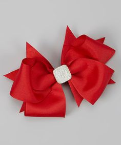 Take a look at this Red Crystal Bow Clip by Payton Grace Bows on #zulily today!