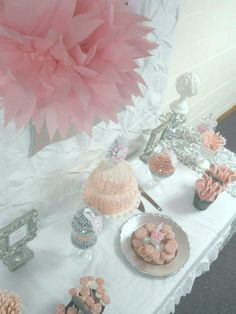 "Candy table ideas - Pink + Grey Damask Baby Shower / Baby Shower/Sip & See ""Pink + Gray Damask Baby Shower"" 