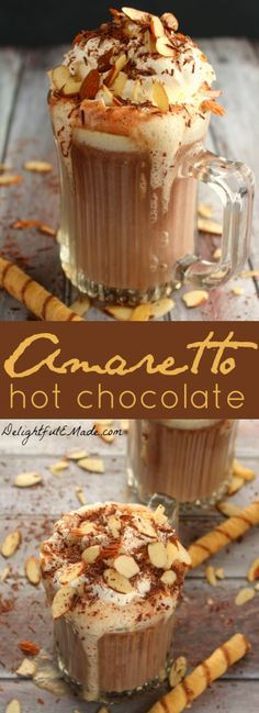 Flavored with Amaretto Liquor for a subtle almond flavor and rich chocolate, this Amaretto Hot Chocolate is the most decadently delicious drink perfect for a cold night! night Amaretto Hot Chocolate {The perfect Boozy Hot Chocolate recipe! Hot Chocolate Bars, Hot Chocolate Recipes, Chocolate Making, Chocolate Milkshake, Chocolate Food, Chocolate Chips, Winter Drinks, Holiday Drinks, Christmas Mocktails
