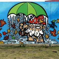 """Street art   Mural """"Autumn's umbrella KBTR"""" (Utrecht, Netherlands) by KBTR"""