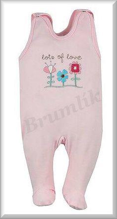kojenecké růžové dupačky s květinkami