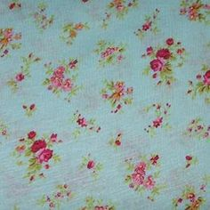 Small Pink Vintage Flowers on Blue Cotton Jersey Knit Fabric