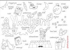 Kleurplaat sinterklaas sint met woordenschat peuters kleuters groep 1 2 3 Craft Activities For Kids, Crafts For Kids, Saint Nicholas, Pre School, Speech Therapy, Diagram, Education, Image, Art