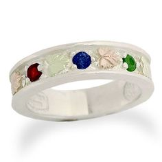 Zales Black Hills Gold Birthstone Family Ring in Sterling Silver (1-7 Stones) 9YdBhk9