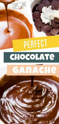 Make perfect chocolate ganache with this easy recipe made from just chocolate and cream. This chocolate ganache is perfect for frostings, truffles, fillings, and drizzles. Chocolate Whipped Cream, Chocolate Glaze, Chocolate Frosting, Homemade Chocolate, Vegan Chocolate, Chocolate Recipes, Dark Chocolate Ganache Recipe, Chocolate Heaven, Chocolate Lovers