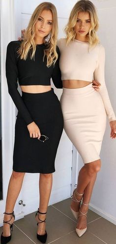 #muraboutique #label #outfitideas | Nude Skirt and Crop Co-Ord Set