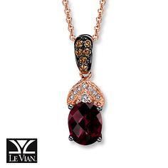 Chocolate diamonds Le Vian Rhodolite Garnet 1/5 ct tw Diamonds 14K Gold Necklace #RoseVoxBox #LindtTruffles