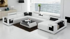 Living Room Sofa U-Shaped Leather Sofas Black Red Orange White-Living Room Sofa-Brown-NOFRAN Electronics & Furnitures - March 16 2019 at White Leather Sofas, Best Leather Sofa, White Sofas, Black Sofa, Leather Sectional, Modern Sectional, Grey Sectional, Brown Leather, Buy Living Room Furniture