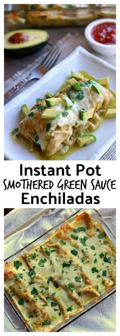 Instant Pot Smothered Green Sauce Enchiladas–homemade Cafe Rio style mild tomatillo sauce is simmered in your electric pressure cooker along with chicken breasts to create the base of your enchiladas. The meal is finished off in the oven when shredded chicken, green sauce and monterey jack cheese are wrapped in flour or corn tortillas and baked. Top each enchilada with avocado slices and a bit of sour cream and you have a party in your mouth. #instantpot #instapot