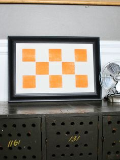 Eight Orange Squares - Tennessee, TN - Old Try - Letterpress Print
