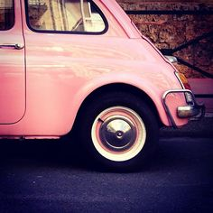 Webbygram | Photo by Céline | Instagram on the web Fiat Cinquecento, Fiat 500c, Fiat 500 Pink, 500 Cars, New Fiat, Cute Cars, Small Cars, Vw Bus, Vespa