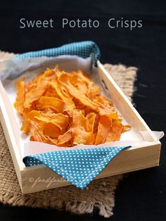Sweet potato crisps - they are oven-baked but as crisp as fried chips.