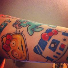 Hello Star Wars Tat R2D2, C3PO star wars tattoo
