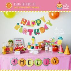 Pack fiesta Twotti Frutti | Chicas dulce cumpleaños 2 | Fruta de verano frutas Tutti fiesta Kit | Paquete imprimible Digital DIY | Personalizada