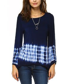 Another great find on #zulily! Navy Blue Tie-Dye Sidetail Top by Urban X #zulilyfinds