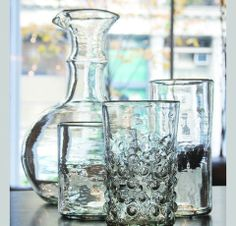 Hand-blown Recycled Drinking Glasses: crafted from hand-blown recycled glass in the last traditional glass-blowing factory in Syria