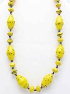 Yellow oval bead necklace