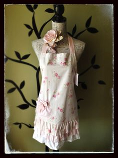Pretty in Pink Triple Frill Floral Cotton Apron $44